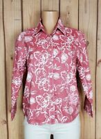 COLDWATER CREEK Womens Size Medium 3/4 Sleeve Button Floral Red Cotton Top