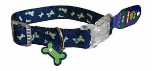 "Top Paw Blue Dog Collar Large L Neck Size 18"" - 22"" Dog Bone Charm Adjustable 1P"