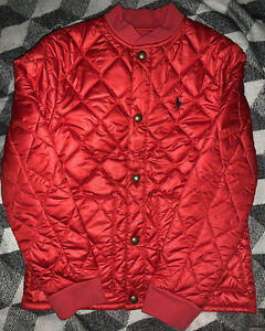 Polo Ralph Lauren Boys Lightweight Puffer Jacket. Red, Snap Up, Medium 10/12 NWT