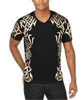 INC Mens T-Shirt Gold Black Size Medium M V-Neck Cash Foil Short Sleeve $29 078