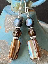 Silver, Brown & Blue Tone Shell Dangle Earrings. Ocean. Beach. Mother of Pearl.
