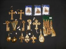 "Gold Christmas ornaments large 5"" tall fruit harps 17 pcs crosses rope vintage"