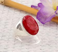 Echte Edelstein-Ringe aus Sterlingsilber mit Rubin für Unisex