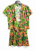 Handmade True Vintage 70s - XXS/XS - Multi-Color Floral Skirt + S/S Jacket Set