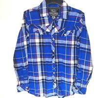 Broken Threads Mens Shirt Size Large 100% Cotton Blue Plaid White Snap Front Red