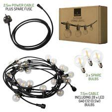 Valiant LED Outdoor Christmas Lights - 10m - 25 x E12 G40 Bulbs - UK Plug