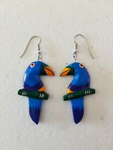 Earrings - Handmade Wooden Parrot Bird Blue Orange 1980s 1990s Hand Painted