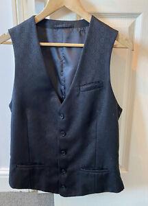 Men's Grey/Black Waistcoat (River Island Large)