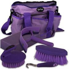Horse Pony Grooming Kit Tack Bag Equestrian Set 5 Piece Brush Hoof Pick Sponge
