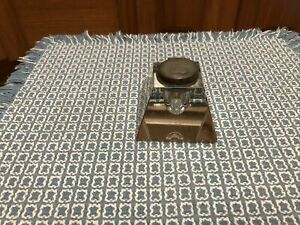 """Antique Crystal Inkwell with copper Lid  Vintage Glass Square Heavy  3"""" X 2.5"""""""