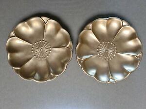 Bx19) Set of 2 Beautiful Gold Decorative Painted Plates 20 cm