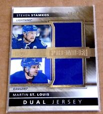 STEVEN STAMKOS & MARTIN ST.LOUIS 2014-15 UD PREMIER DUAL GAME USED JERSEY#75