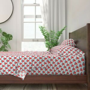 Watermelon Red White And Blue Stars 100% Cotton Sateen Sheet Set by Roostery