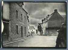 """France, Bretagne, Maison """"Guilbaud Boucher Débitant""""  Vintage silver print.  T"""