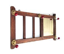 Vintage French Wooden Wall Coat Hat Rack, Mirror, 1930's, Paris Bistrot Style