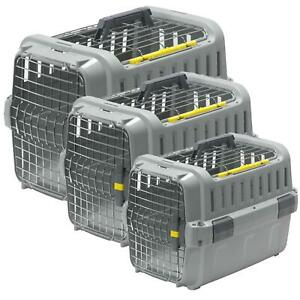 Pet Transporter Cat Dog Sturdy Carrier Crate Two-Door Travel Basket Box 3 Sizes