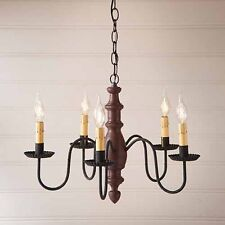 Country Inn Five-arm Wooden Chandelier Light Fixture in Plantation Red