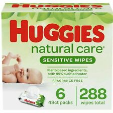 Huggies Natural Care Sensitive Baby Wipes, Unscented, 6 Flip-Top Packs (288 Ct)