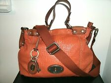 Fossil Beautiful Maddox ZT Sold Out Burnt OrangeLeather w/Brown Satchel Bag EUC!