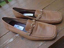 "Etienne Aigner Leather Shoes Loafers ""Rain Dance"" 8W, Camel square toe, EUC"