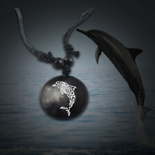 "Dolphin Necklace Animal Awareness Adjustable 14"" - 30"" Vegan Leather Necklace"