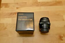YONGNUO YN100MM Lens F/2 AF& MF Prime Lens For Nikon DSLR Cameras MINT