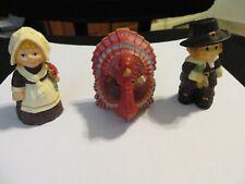 Vintage Hallmark Merry Miniatures Pilgrims & Turkey 1987 Mint