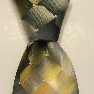 VAN HEUSEN Men's Polyester Necktie Designer Geometric Yellow/Gray/Gold NWT $45
