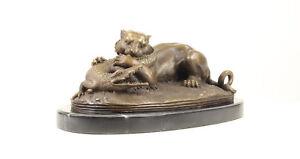 9937520-dss bronze skulptur figur löwe kämpft mit krokodil 18x35cm