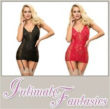 Sexy Red Black Polka Dot Basque Floral Chemise Size 12 14 16 18 20 22 XL L Plus