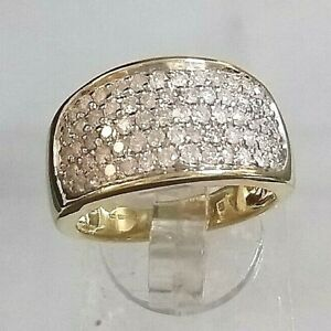 Vintage Genuine 1ct Diamond Cluster Ring 9ct Yellow Gold  ABSOLUTE STUNNER sz P