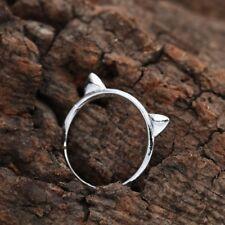 Kitty Cat Ears Finger Ring, Silver Tone - Cute, Kawaii 3D Jewelry - US Size 7