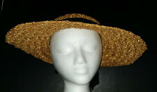 Vintage Ladies Wide Brim Straw Hat Velvet Ribbon and Bow Cage Brothers & Co