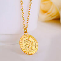 "18k Yellow Gold Rolo Link Chain 20"" Necklace - St. Christopher Pendant +GiftPkg"