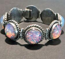Vintage Far Fan Art Glass Cabochon Faux Opal Bracelet Sterling Silver Mexico
