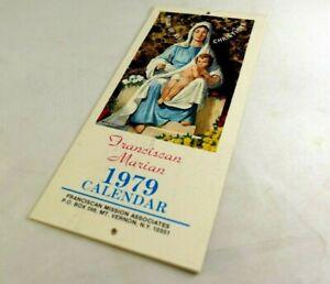 "1979 Franciscan Marian Catholic calendar ""Help of all Christians"" Madonna Jesus"