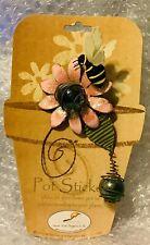 Whispering Wings Bee w/Flower Pot Sticker Metal/Glass Sunset Vista Plant Pick