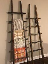 8' tall Primitive Folding Rustic Antique Wood 5 Rung Ladder