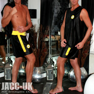 NEW L Mens Shiny BLACK Dazzle Satin Basketball BOXING Gym Shorts Vest Top Set
