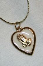 Lovely Cream Enamel Praying Hands Heart Medal Necklace  ++++