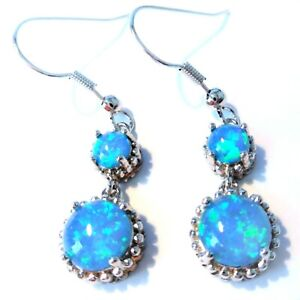 UK**NEW* 925 SILVER GORGEOUS BLUE FIRE OPAL ROUND 2 STONE EARRINGS  15 X 8 mm