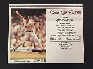 DENNIS ECKERSLEY BOSTON RED SOX 8X10 HALL OF FAME INDUCTION DAY CARD