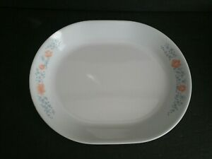 "CORELLE Apricot Grove Oval Serving Platter Orange Peach Flowers 12""x10"" ~ HG228"