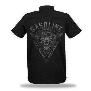 Worker Shirt Gasoline Soul Speedjunkies Brotherhood Skull Motorcycle Biker Hemd