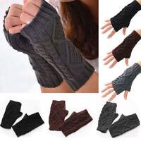 Winter Unisex Knitted Fingerless Gloves Women Fashion Long Arm Warmer Mitten