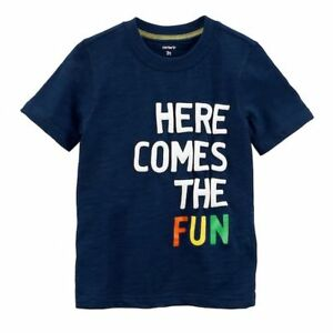 New Carter's Boys Top Here Comes The Fun Graphic Tee 9m 18m 5T Navy Blue Top