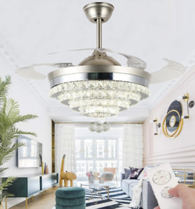 "42"" Retractable Ceiling Fans with LED Light Remote Luxury Crystal Chandelier"