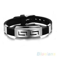Boy Men Punk Rock Rubber Stainless Steel Wristband Clasp Cuff Bangle Bracelet