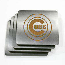 - NEW - Chicago Cubs MLB Stainless Steel Sportula Boasters - Set of 4 Coasters