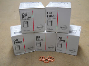 GENUINE NISSAN OIL FILTER 5 PACK WITH WASHERS 15208-65F0C NEW OEM